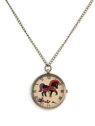Modelo del caballo unisex del cuarzo del collar del reloj análogo de la aleación
