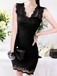 Women's Deep V Lace Dress , Chiffon Mini Sleeveless