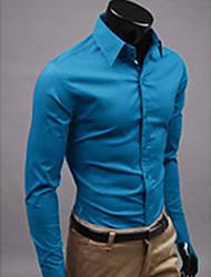 S & M Camisa color sólido de manga larga para Hombres 6492 Azul