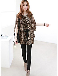 Women's Leopard Blouse , Round Neck ½ Length Sleeve