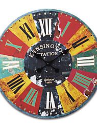 "23""H Retro Mechanical Style Wood Wall Clock"