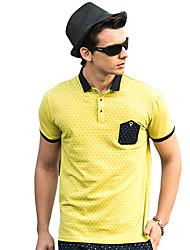 Jelete Herren Jugend Polka Dots Short Sleeve Shirt (gelb)