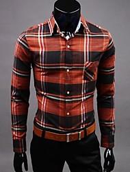 Men's Lapel Contrast Color Long Sleeve Shirt