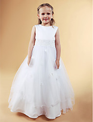 A-line Princess Floor-length Flower Girl Dress - Satin Tulle Jewel with Appliques Beading Bow(s) Flower(s) Pearl Detailing