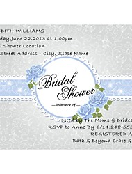 Personalized Light Sky Blue Sash Design Bridal Shower Cards - Set of 12