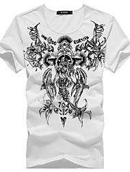 Herren T-shirt-Druck Freizeit / Büro / Formal / Sport Baumwollmischung Kurz-Blau / Weiß / Grau