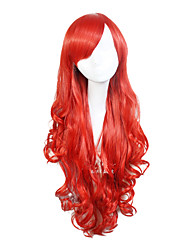 Capless Synthetic Burgundy 28 Inch Long Wave Synthetic Hair Wig Cosplay Wig