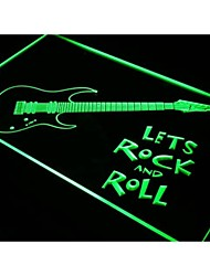 i796 Guitar Let's Rock n Roll Music Neon Light Sign