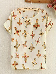 Kvinnors Point Collar Gul Mönster blommor Print Shirt