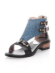 Zapatos de mujer - Tacón Bajo - Punta Abierta / Comfort - Sandalias - Oficina y Trabajo / Vestido - Semicuero -Negro / Azul / Rosa /