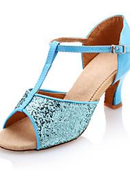 Non Customizable Women's Dance Shoes Latin Leatherette/Sparkling Glitter Chunky Heel Blue