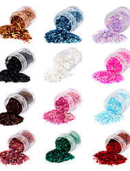 12 Colors Paillette Glitter Powder Nail Art Decorations A(6.5gx12)