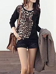 Col rond Leopard des femmes de couleur de charme le long T-shirt de douille