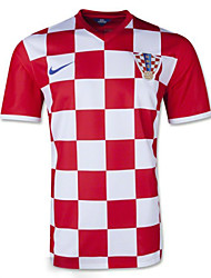Men's SoccerJersey Short Sleeves Red and White