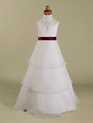 Lanting Bride A-line / Princess Floor-length Flower Girl Dress - Organza / Satin Sleeveless Jewel withAppliques / Beading / Ruffles /