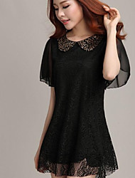 Women's Cute Dress Mini Short Sleeve Black Summer