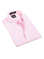 Été formelles affaires manches courtes Modal Chemises Oxford U-requin homme rose rayé blanc Blouse Top EOZY