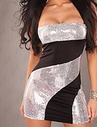 xixiangyi® strapless sexy das mulheres com lantejoulas algodão e elastano mini vestido