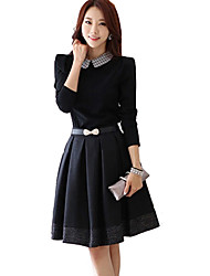 Mujeres MYZX estilo coreano medida Vestido con cinturón
