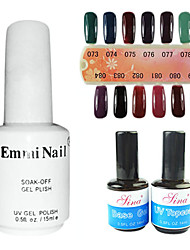 2PCS 14ml UV Top Gel Coat & Base Gel 1 PCS 15ml Cor UV Gel 12 cores sortidas No.73-84