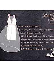 Personalized Elegant Gown Bridal Shower Cards - Set of 12