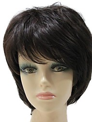 Capless Synthetic Short Wave Side Bang Dark Brown Kunsthaar-volle Perücke