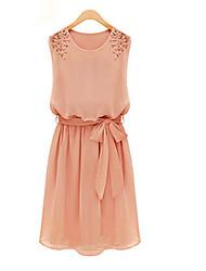 Fashion Queen Frauen Korean ärmellos Taille Chiffon-Kleid (Pink)