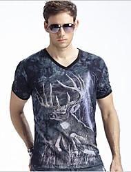 Herren Summer New Modal 3D-Lichtblitz Deer Kurzarm-T-Shirt