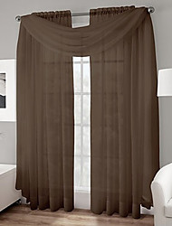 "TWOPAGES® (Two Panels Rod pocket) Voile Sheer Curtain With Scarf Valance in Peach Valance Size 50""W * 216""L"