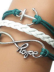 shixin® europeu infinity 18 centímetros pulseira azul envoltório de couro das mulheres (1 pc)