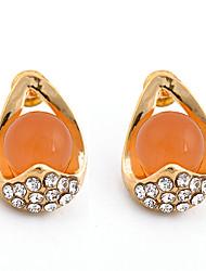 Jinbaili Europe Musées Noble Eleagnt genstone Boucles d'oreilles (Orange)