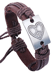 Bracet Adjustable  Heart Leather Bracelet Screen Color