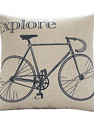 Modern Artistic Handpainted Bicycle Exploring The World Decorative Pillow Cover