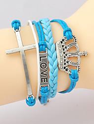 HUAIJIE Европа улучшения Уникальные Vintage Синие браслеты (серебро)