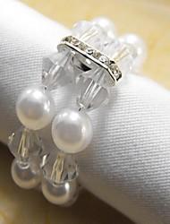 Perla di cristallo tovagliolo anello, Perla, Cristallo, 4.5CM, set di 12,