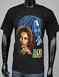 Hip Estrela Camiseta Bob impresso preta do algodão dos homens