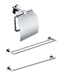 3 Packed Brass Bath Accessories Set,  Single and  Double Towel Bar/Paper Holder