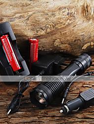 Lanternas LED / Lanternas de Mão LED 5 Modo 2000 Lumens Foco Ajustável Cree XM-L T6 18650.0 / AAACampismo / Escursão / Espeleologismo /