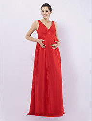 Floor-length Chiffon Bridesmaid Dress - Ruby Maternity Sheath/Column V-neck / Straps