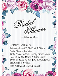 Personalized Colorful Flower Bridal Shower Cards - Set of 12