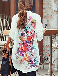 Naisten valkoinen / vihreä pitkähihainen kukka tulostaa sifonki pitkä pusero