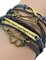 Shixin® European Tag 18cm Women's Blue Leather ID Bracelet(1 Pc)