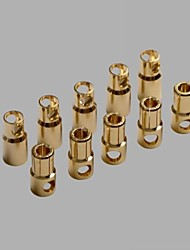 6.0mm Gold Plated Banana/Bullet Connectors with Heat Shrink Tube (10 pairs)