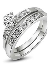 Anéis Casamento / Pesta / Casual Jóias Cristal Feminino Anéis Statement6 / 7 / 8 / 9 Dourado / Prateado