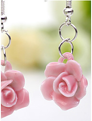 Blue and white Handwork Ceramic Flower Design Pendant Earrings(Pink)