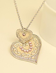Vintage Jewelry Enamel Heart Pendant Necklace for Women Fashion Accessories