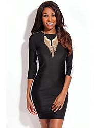 Chic Negro Blanco espalda abierta Vestido ajustado de la Mujer