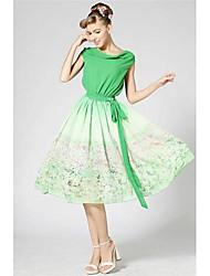 Mulheres Piles Loose elástico na cintura lindo vestido de cor Tri-color