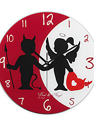 """15""""H Angels Of Love Style Mirror Wall Clock"""