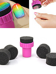 1PCS Manicure Sponge Nail Art Stamper Tools with 4PCS Sponge Nail for Gradient Color Nail Art